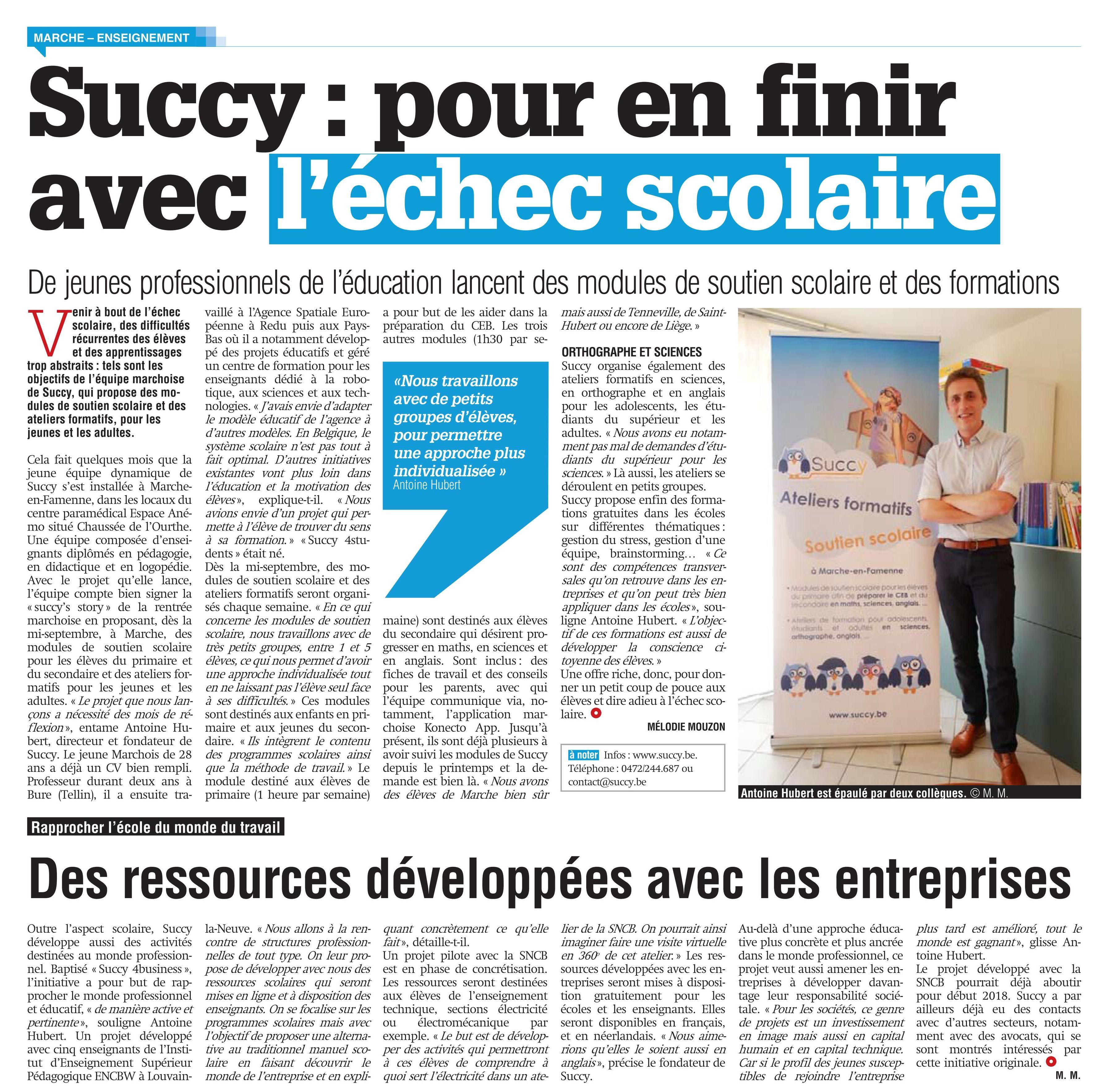 Succy - éducation et formation à Marche-en-Famenne - soutien scolaire, activités éducatives et formatives.
