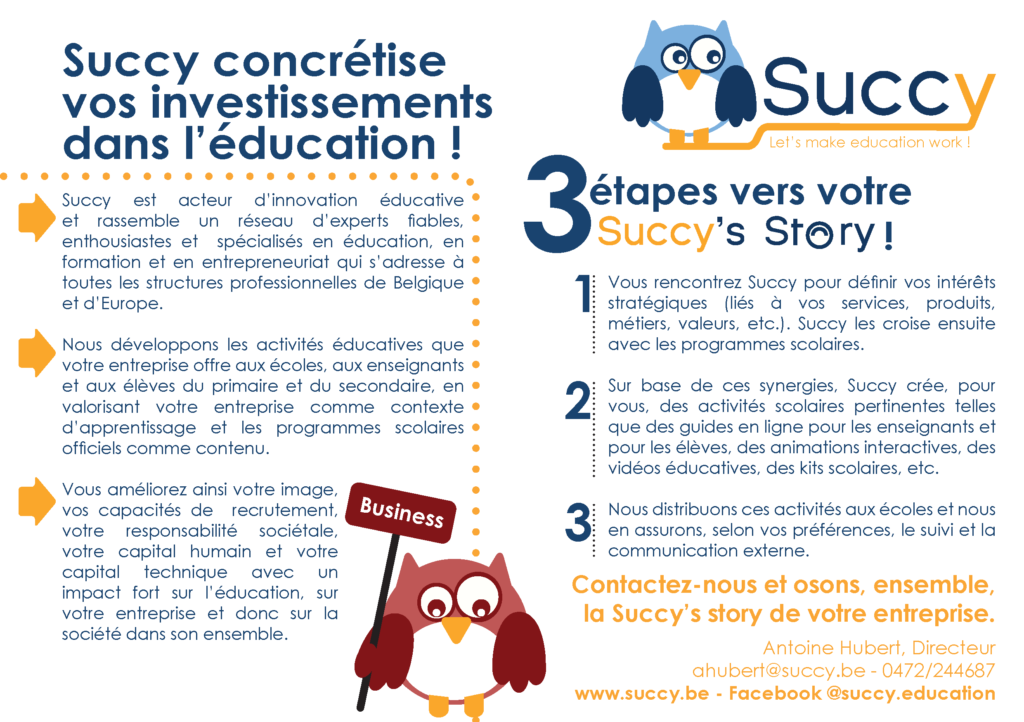 Succy 4business - Développement d'activités éducatives concrètes avec le monde professionnel.
