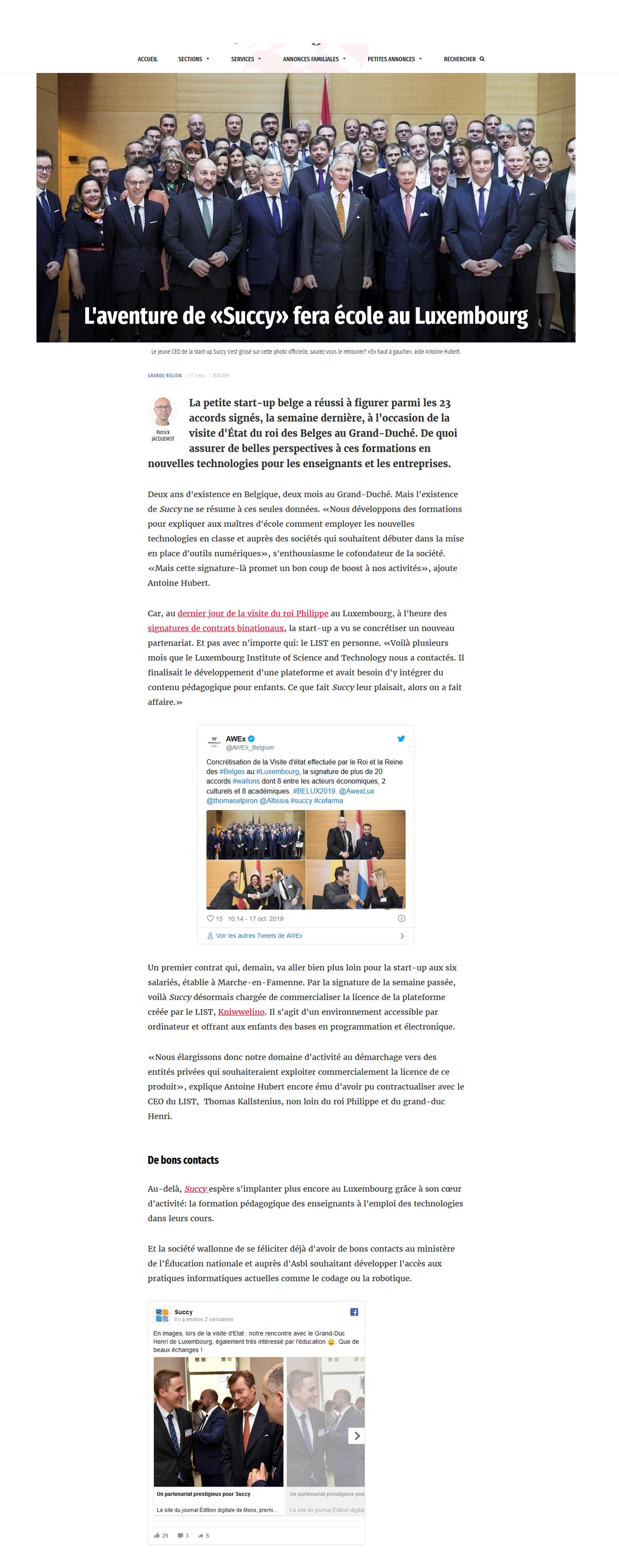 Succy - éducation numérique innovante - partenariat avec le Luxembourg Institute of Science and Technology